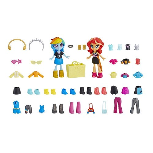 HASBRO My Little Pony Equestria Girls Fashion Squad Rainbow Dash and Sunset Shimmer Mini Doll Set wi