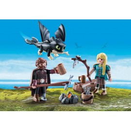 Hiccup Astrid Si Pui De Dragon Playmobil