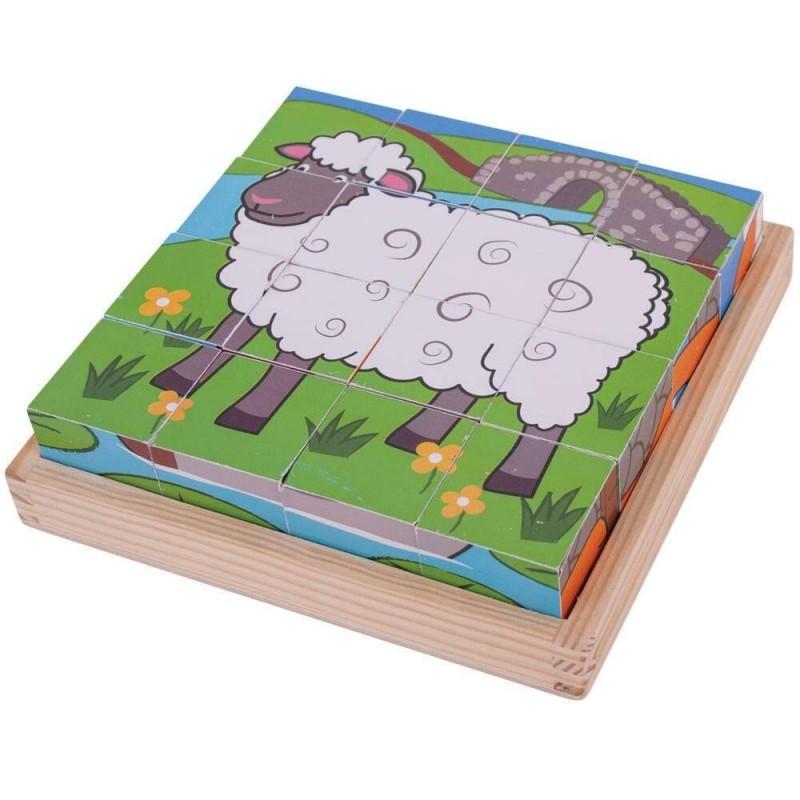 Puzzle din lemn cubic Animalute de la ferma BigJigs