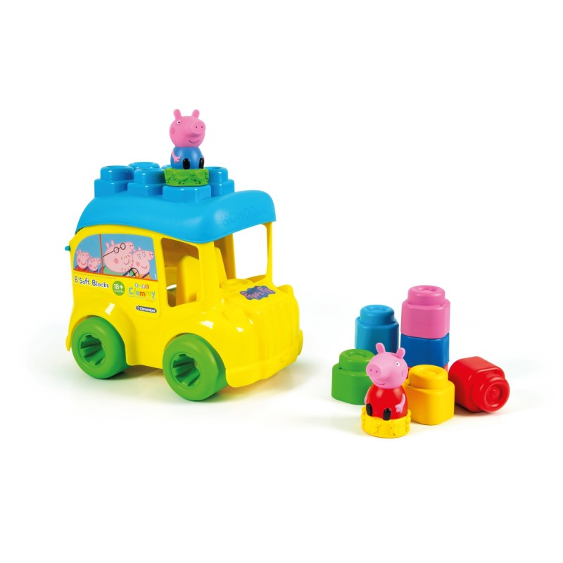 Cuburi moi Soft Clemmy Autobuz Peppa Cu Cuburi Clementoni