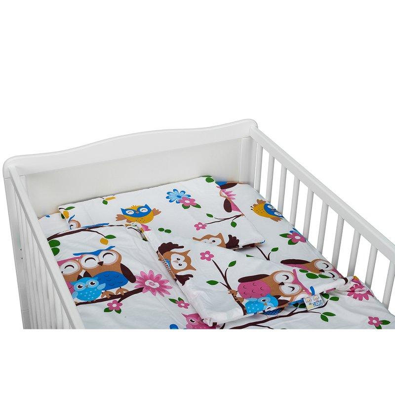BabyNeeds Lenjerie patut 3 piese 140x70 cm Bufnitele vesele