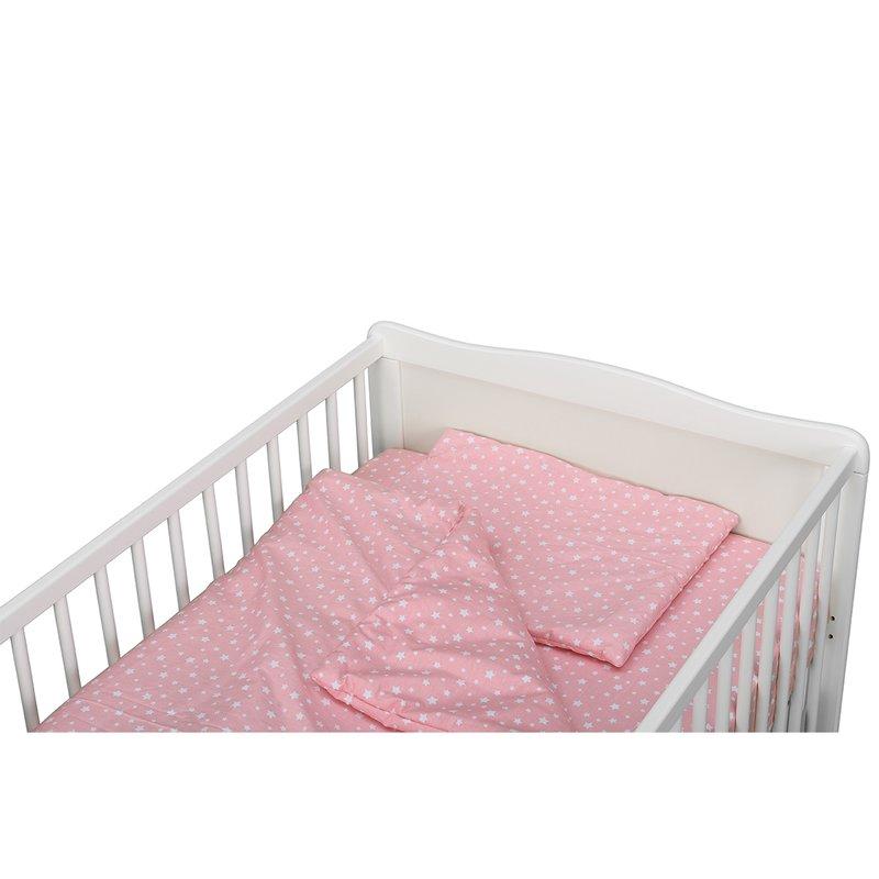 BabyNeeds Lenjerie patut 3 piese 140x70 cm Roz cu stelute albe