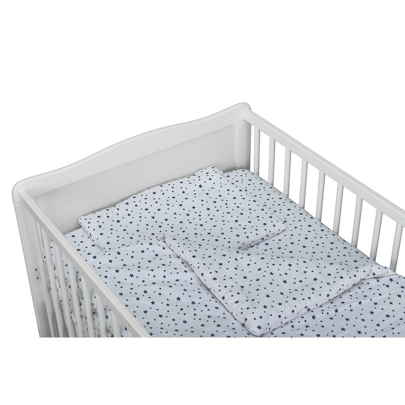 Babyneeds Lenjerie patut 3 piese 140x70 cm Alb cu stelute albastre