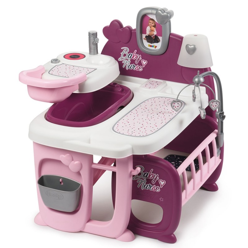 Centru de ingrijire pentru papusi Baby Nurse Doll s Play Center mov cu 23 accesorii Smoby
