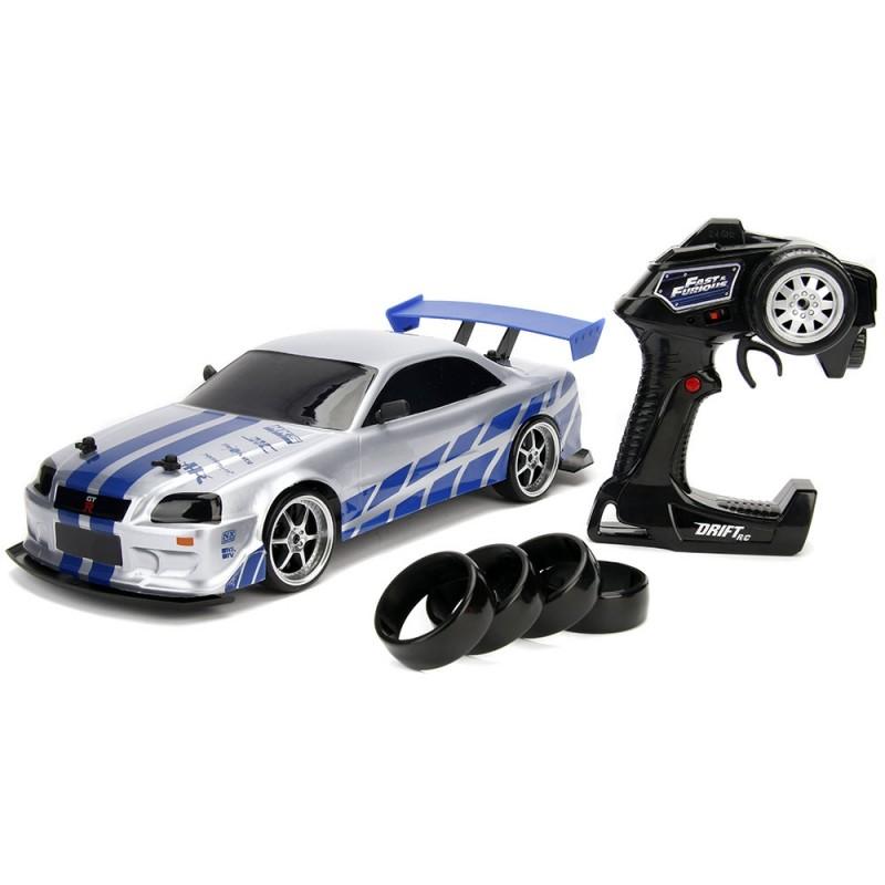 Masina Jada Toys Fast and Furious Nissan Skyline GTR Drift cu anvelope si telecomanda