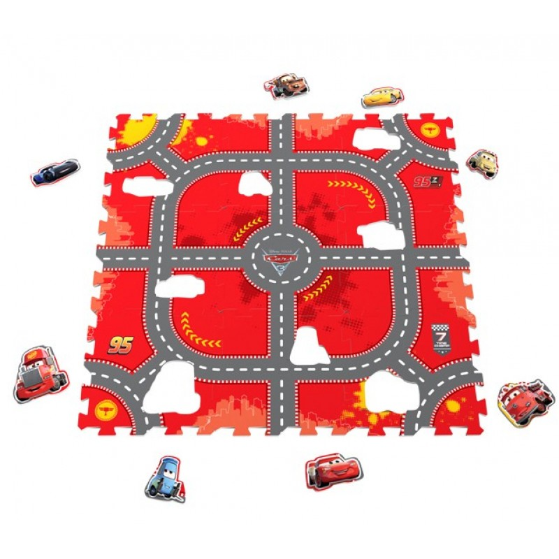 Covor puzzle din spuma Cars 3 Modular Race 9 piese Knorrtoys