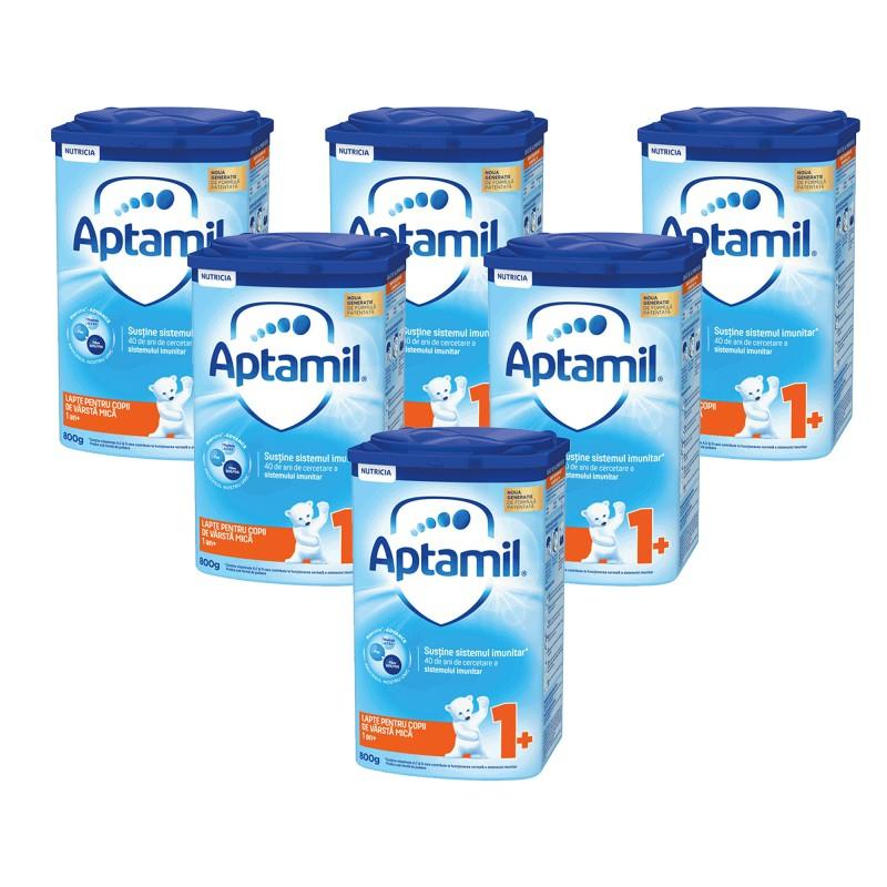 Pachet 6 X Lapte praf pentru copii de varsta mica Aptamil 800 gr 1 an Plus