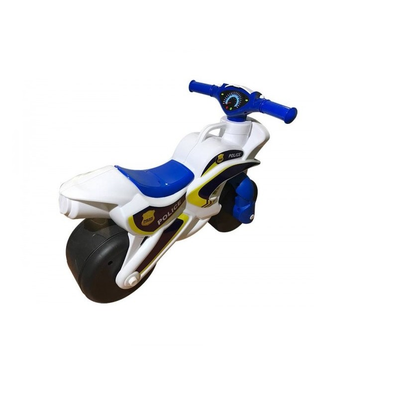 Motocicleta de impins MyKids Police Music 0139 51 Alb Albastru