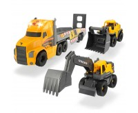 Camion Dickie Toys Mack Volvo Heavy Loader Truck cu remorca buldozer si camion basculant