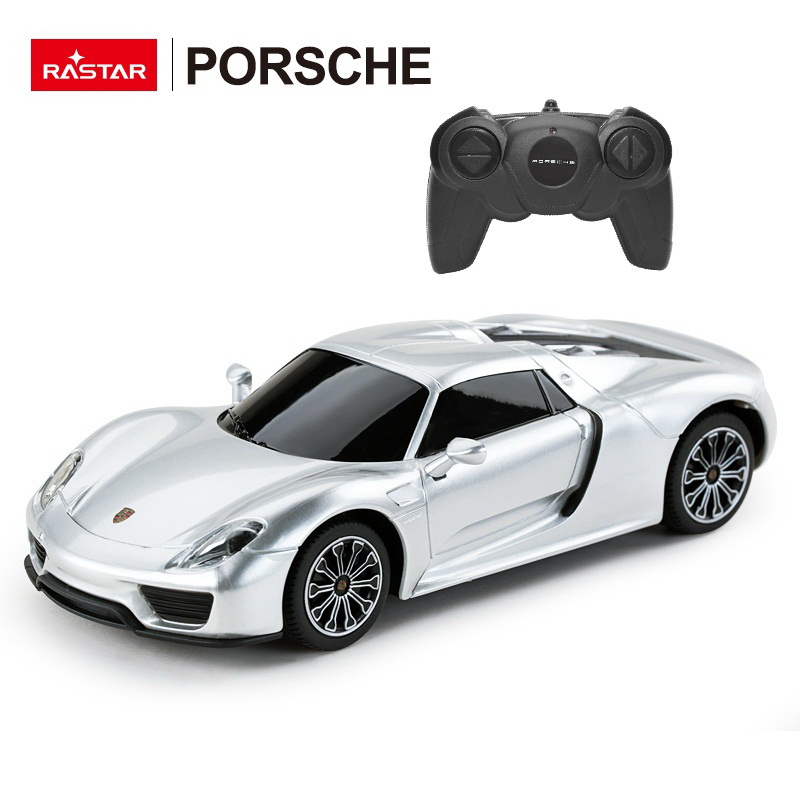 Masina cu telecomanda Porsche 918 Spyder Argintiu cu scara 1 la 24 Rastar