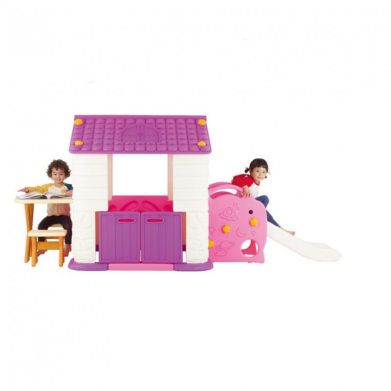 Casuta copii 3 in 1 deluxe cu tobogan masuta si bancute Edu Play Violet