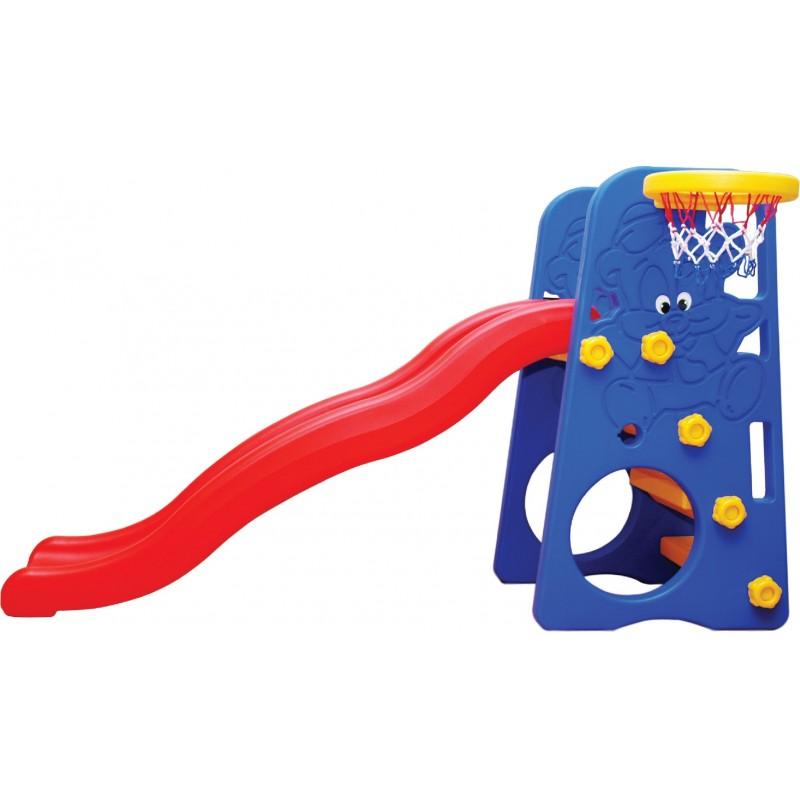 Centru de joaca special 2 in 1 Pado Edu Play cu tobogan si cos baschet