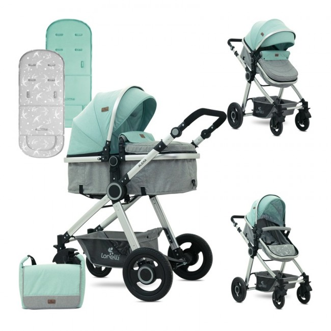 Carucior 2 in 1 transformabil Alexa Green Grey Birds