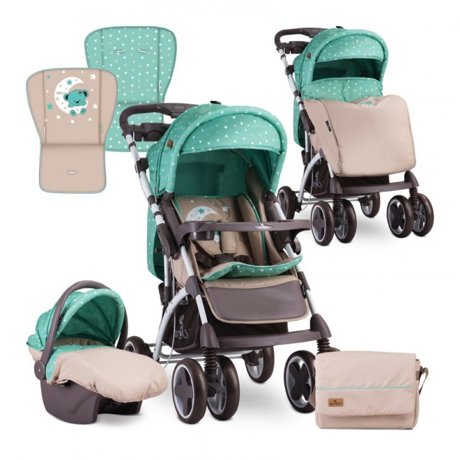 Carucior 2 in 1 Toledo Green Beige Moon Bear Lorelli
