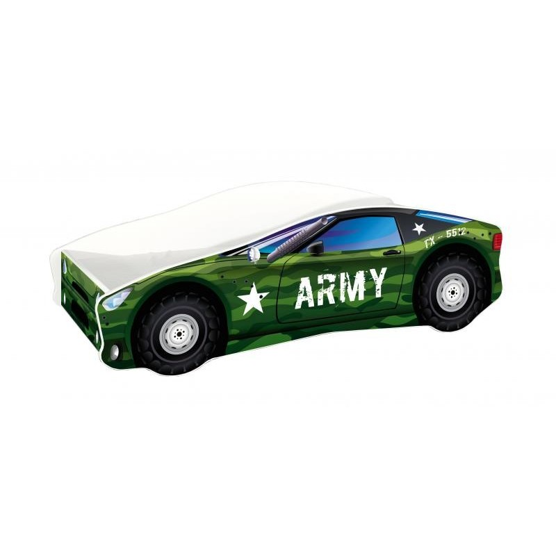 Pat Tineret MyKids Race Car 07 Army160x80