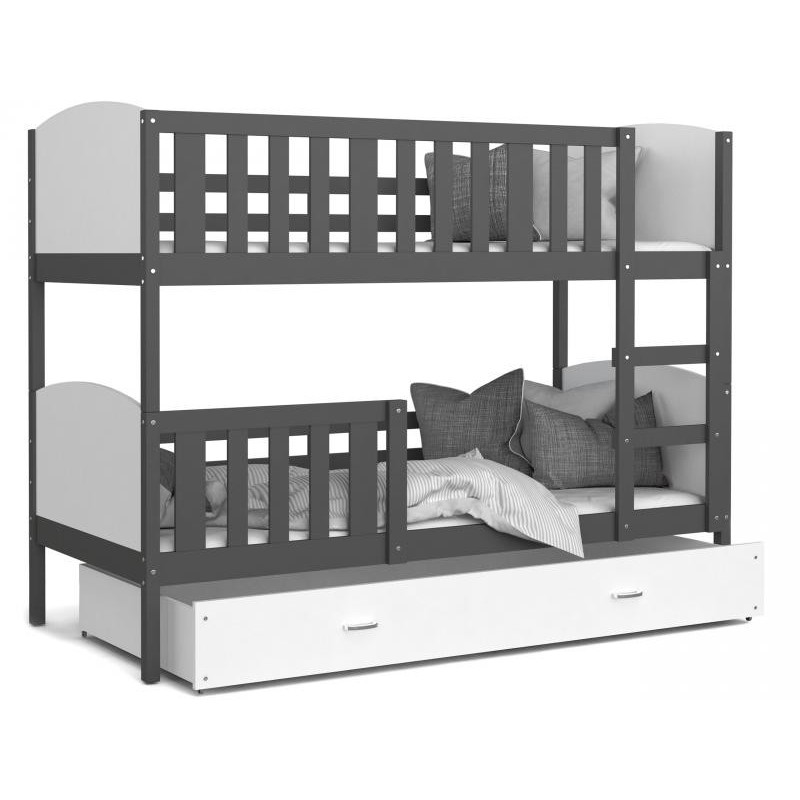 Patut tineret MyKids 2 in 1 Tami Color White/Grey 190x80