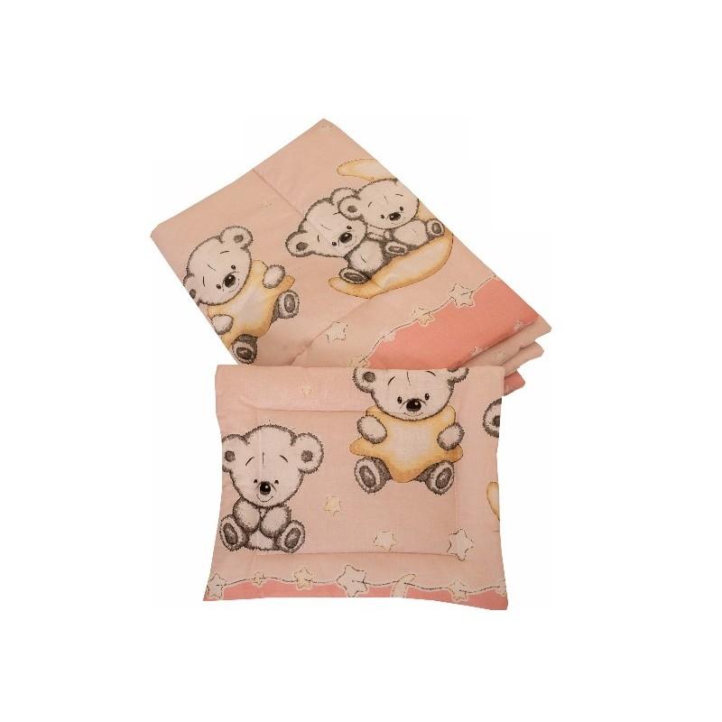 Lenjerie MyKids Bear On Moon Pink M2 4 1 Piese 140 70
