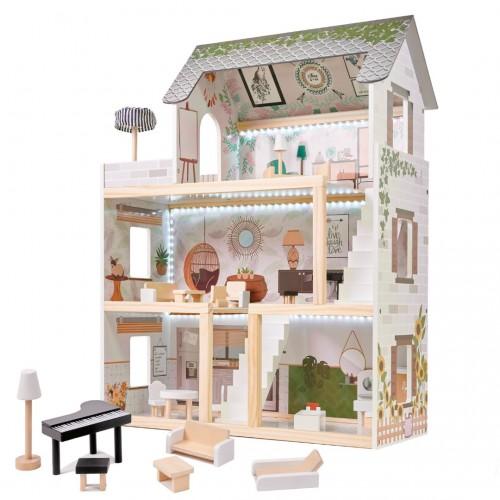 CASUTA PENTRU PAPUSI LULILO 78 CM CU LED DIN LEMN FLORO BOHO PLUS MOBILIER Wooden Toys