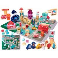 SET CUBURI LEMN EDUCATIVE PUZZLE ORAS 100 BUC 55 42 CM Wooden Toys