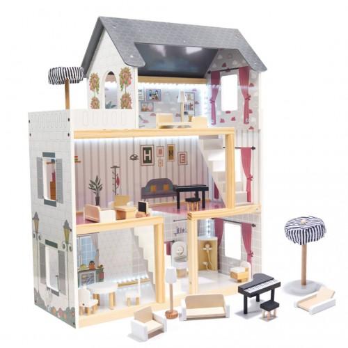 CASUTA PENTRU PAPUSI AMELIE 78 CM CU LED DIN LEMN MDF PLUS MOBILIER Wooden Toys
