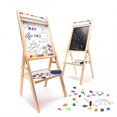 TABLA 3 in 1 MAGNETICA CU CRETA SAU HARTIE 90 CM Wooden Toys