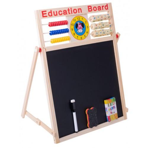 TABLITA 4 IN 1 PENTRU CRETA MARKER SAU MAGNETI CU ABAC SI CEAS 42 X 32 5 CM Wooden Toys