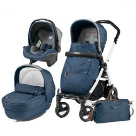 Carucior 3 In 1 Book Plus 51 S Black and White Completo Elite Urban Denim Peg Perego
