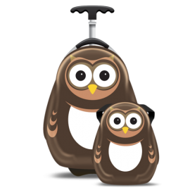 Ghiozdan si valiza tip trolley set PIPI the Owl