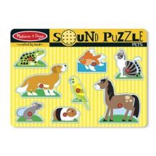 Melissa Doug puzzle de lemn cu sunete Animale de companie