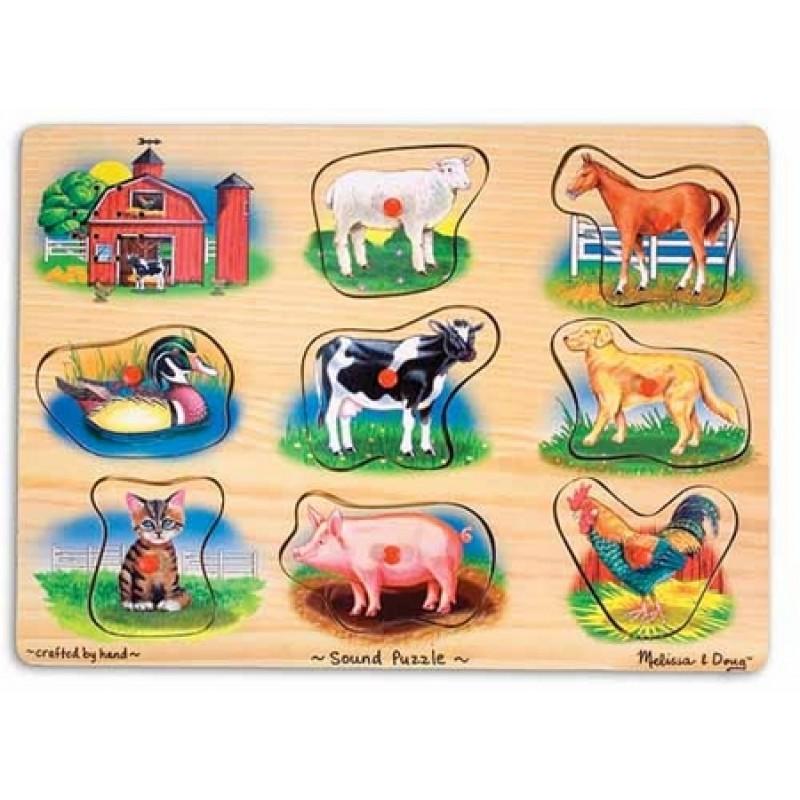 Melissa Doug Puzzle lemn cu sunete Animale de la Ferma natur