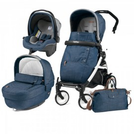 Carucior 3 In 1 Book Plus 51 Black and White Completo Elite Urban Denim Peg Perego