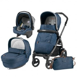 Carucior 3 In 1 Book Plus 51 Black Completo Elite Urban Denim Peg Perego