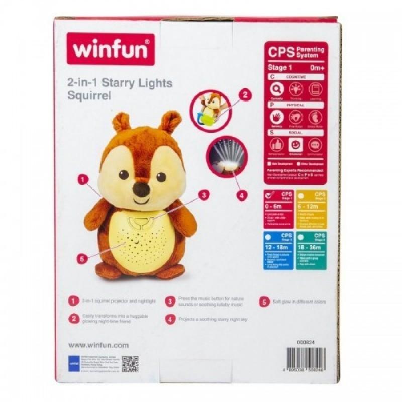 Lampa de veghe muzicala cu proiector multicolor Squirrel Winfun