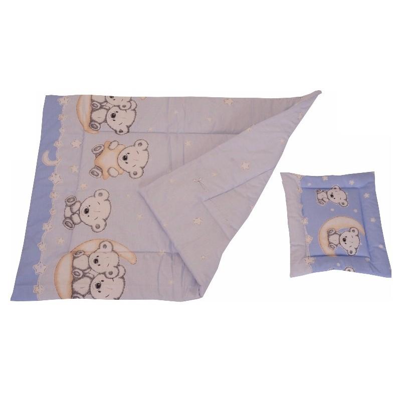 Lenjerie MyKids Bear On Moon Blue M2 4 1 Piese 140 70