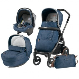 Carucior 3 In 1 Book Plus 51 S Black Completo Elite Urban Denim Peg Perego